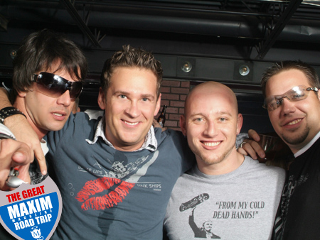 Erran Yearty (So Fain), Max Smith (Maximus), Nick Claeboe (Alcoholnik), and Douchebag - The Great Maxim Magazine Road Trip Photos and Pictures.
